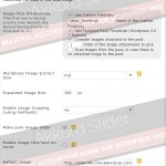 Slider Image preferences and options, auto fetching options, width and height of images, image cropping etc.