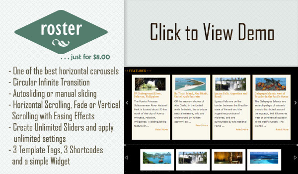 Roster Slider WordPress Plugin