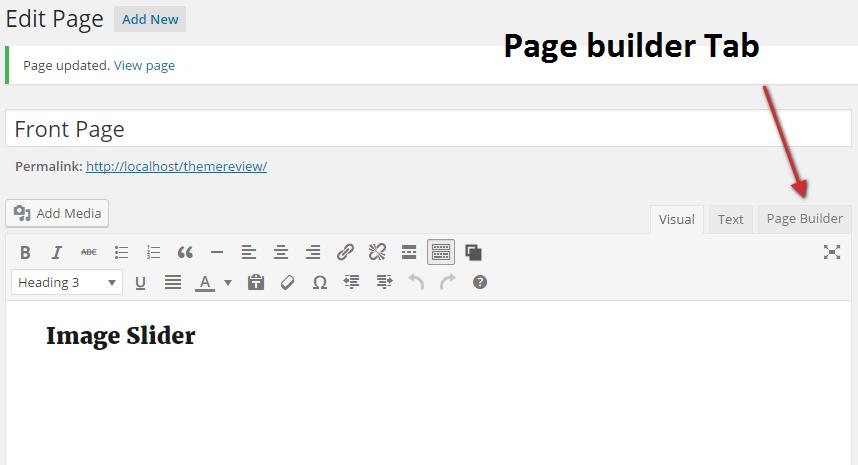 page builder tab
